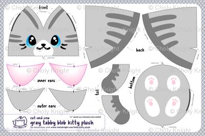 Cut & Sew Gray Blob Kitty Plush