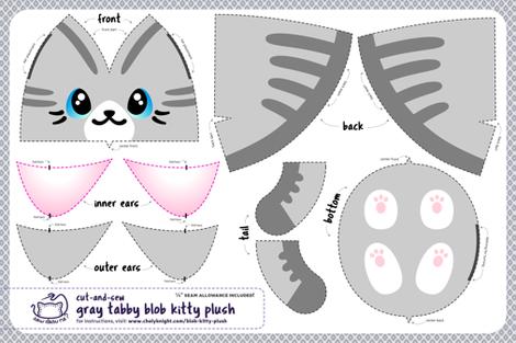 Cut & Sew Gray Blob Kitty Plush fabric by sewdesune on Spoonflower - custom fabric