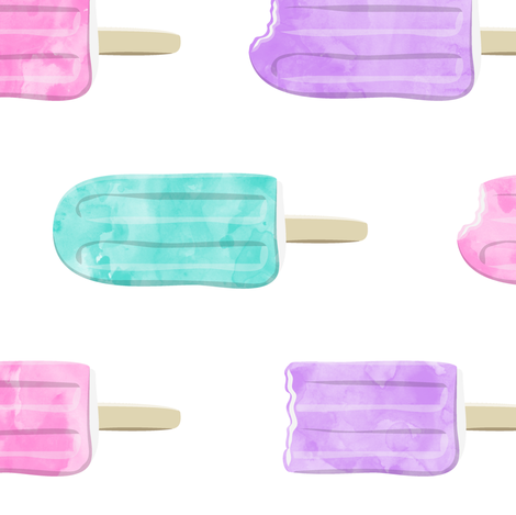 """watercolor popsicles (5"""" scale) 90 fabric by littlearrowdesign on Spoonflower - custom fabric"""