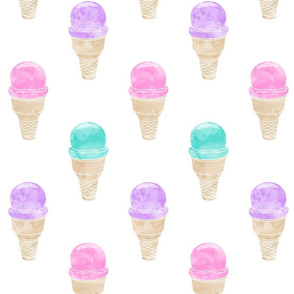 """5"""" scale - watercolor icecream cone - pink, purple, teal"""