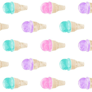 "5"" scale - watercolor icecream cone - pink, purple, teal (90)"