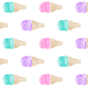 """5"""" scale - watercolor icecream cone - pink, purple, teal (90)"""