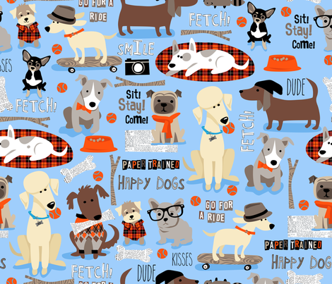 Happy_Dog_repeat fabric by bzbdesigner on Spoonflower - custom fabric