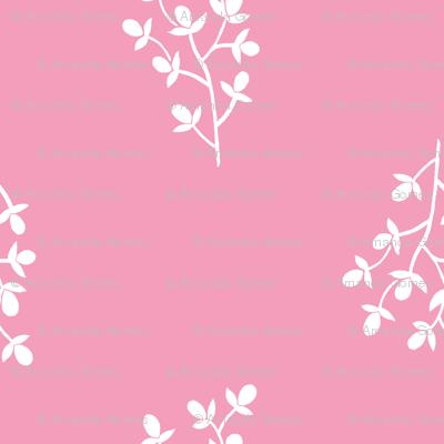 White Florals w Pink - S