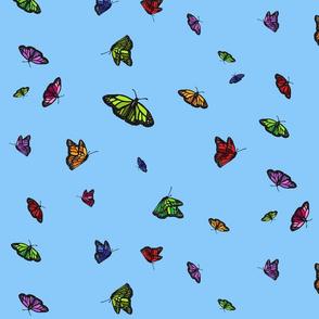 Mixed butterflies on blue