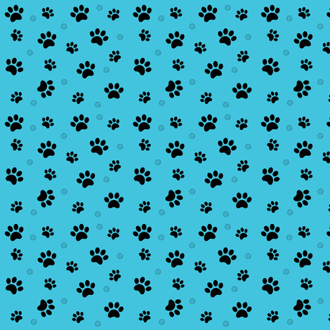 Paw prints blue Schnauzer Dogs fabric by forestwooddesigns on Spoonflower - custom fabric