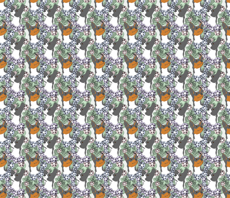 Floral Rat terrier portraits B - small fabric by rusticcorgi on Spoonflower - custom fabric