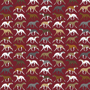Trotting Whippet border burgandy - small