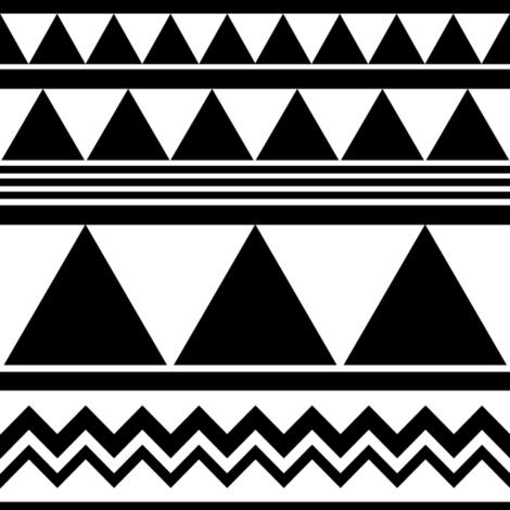 SouthWestern Geometric B+W fabric by woodmouse&bobbit on Spoonflower - custom fabric