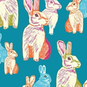 Retro Rabbits Teal