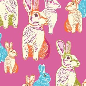 Retro Rabbits Pink