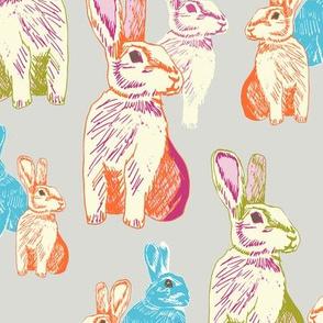 Retro Rabbits Grey