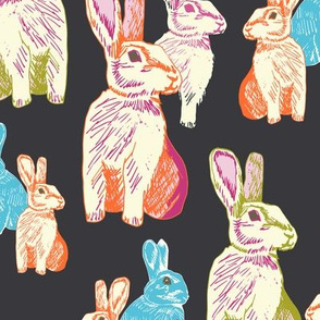 Retro Rabbits Charcoal