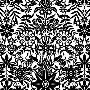 Black and White Paper Floral