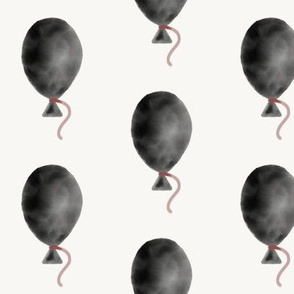 Watercolor balloons - black with berry string