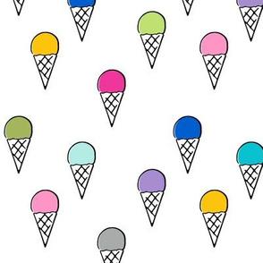 multi colored cones on white