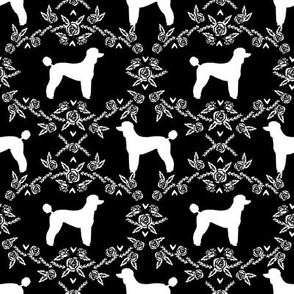 poodle silhouette floral minimal fabric pattern black and white