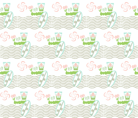 Surfing Waves MED525-petal beach fabric by drapestudio on Spoonflower - custom fabric