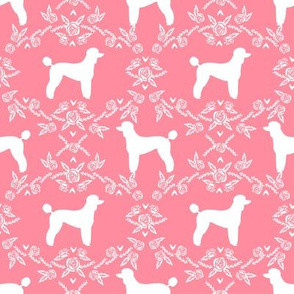 poodle silhouette floral minimal fabric pattern flamingo