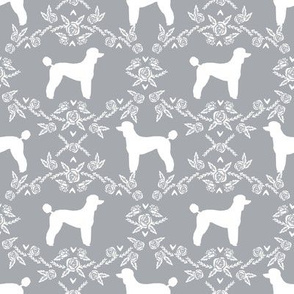 poodle silhouette floral minimal fabric pattern grey