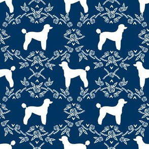 poodle silhouette floral minimal fabric pattern navy