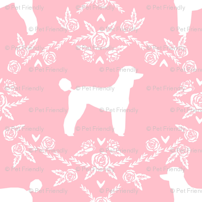 poodle silhouette floral minimal fabric pattern pink
