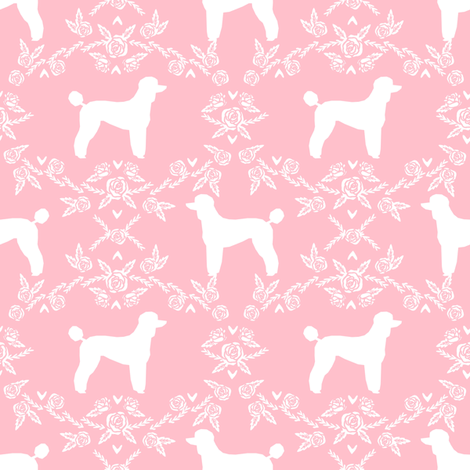 poodle silhouette floral minimal fabric pattern pink fabric by petfriendly on Spoonflower - custom fabric