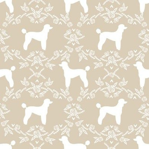 poodle silhouette floral minimal fabric pattern sand