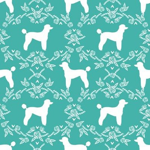 poodle silhouette floral minimal fabric pattern turquoise