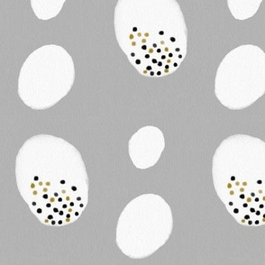 Watercolor abstract - watercolor dots grey eggs black and white