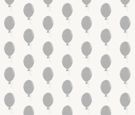 Balloons - watercolor grey and mint fabric by sunny_afternoon on Spoonflower - custom fabric