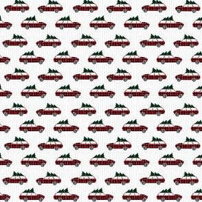 christmas wagon fabric trees on cars fabric micro mini print
