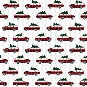 buffalo plaid christmas wagon vintage christmas car mini print