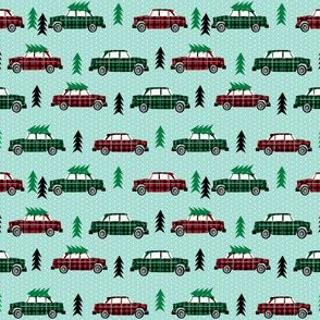 christmas plaid car vintage wagon design cute xmas holiday christmas fabric