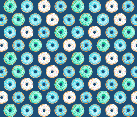 Iced Donuts - Blue on navy, 2 inch donuts fabric by hazelfishercreations on Spoonflower - custom fabric