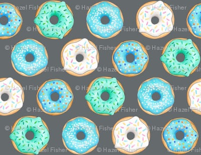 Iced Donuts - Blue on dark grey - 2 inch donuts