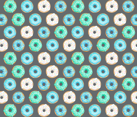 Iced Donuts - Blue on dark grey - 2 inch donuts fabric by hazel_fisher_creations on Spoonflower - custom fabric
