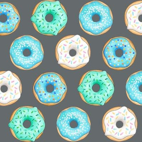 Iced Donuts - Blue on dark grey