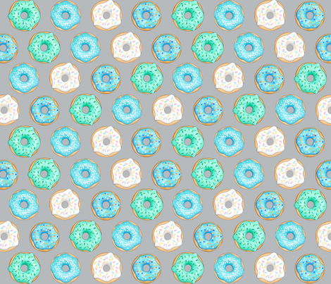 Iced Donuts- Blue on light grey - 2 inch donuts fabric by hazel_fisher_creations on Spoonflower - custom fabric