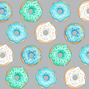 Iced Donuts- Blue on light grey - 2 inch donuts