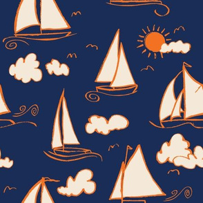 Sunny Sailboats on Navy// nautical sailing boat ships sunny sunshine clouds orange cream navy fabric