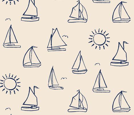 Sailboats Sketch on Cream // nautical sailing boat ships sunny sunshine navy fabric fabric by liz_sawyer_design on Spoonflower - custom fabric