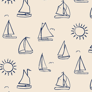 Sailboats Sketch on Cream
