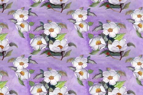 Southern Magnolias Watercolor fabric by suziqcreations on Spoonflower - custom fabric