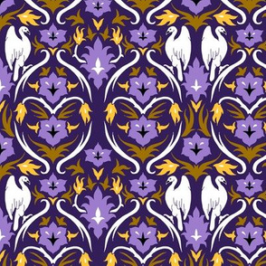 Birds and Flowers Damask Purple