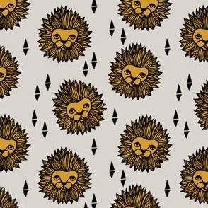 lion fabric // lion head grey and gold mustard boys nursery baby boy kids