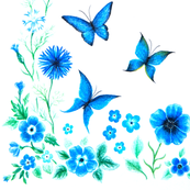 Blue carnations&butterfly