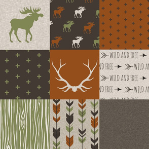 Wholecloth Quilt - Redstone Canyon + Olive Green - Moose, antlers, arrows, wild and free in rust, brown, tan-ch-ch