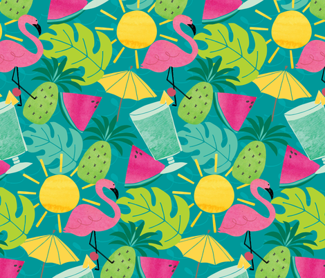 Blue Hawaii fabric by penandpaint on Spoonflower - custom fabric