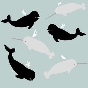 Arctic whale pod